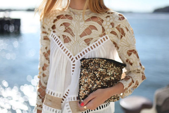 chiffon top blouse embroidered