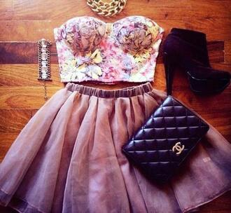 dress bandeau black boots silver jewelry chain necklace vans black bag skirt floral floral top booties chanel mini skirt multicolor strapless jewels shoes formal high heels
