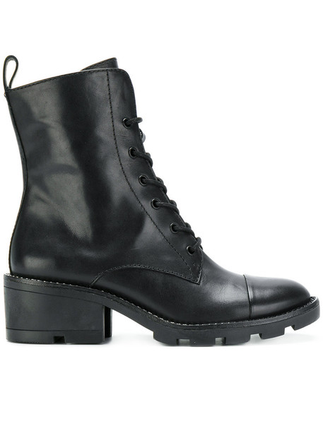 biker boots women leather black shoes