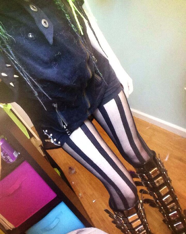 tights cute alternative stripes black
