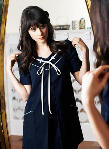 mini zooey deschanel sailor blue dress white dress