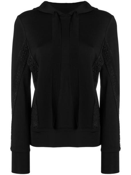 Ganni hoodie women spandex lace black sweater