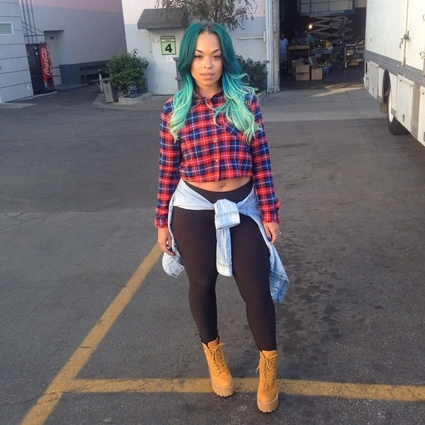 sweater heather sanders plaid shirt button denim boots heels crop tops blue hair ombre black last kings trell trill sorella boutique timberlands leggings shoes jacket