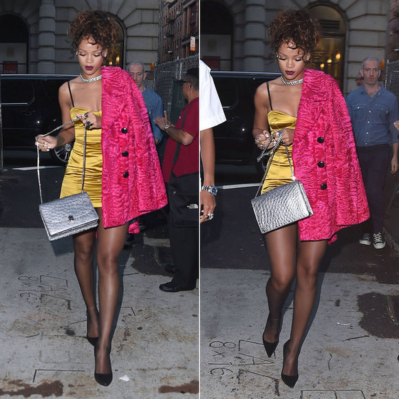 rihanna fashion week 2014 dress bag coat
