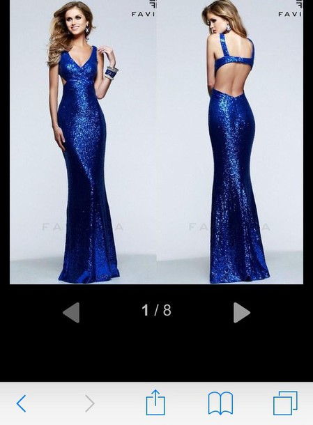 dress blue dress sequin prom dress