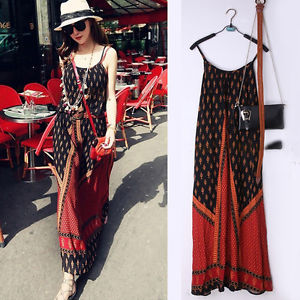 Women Boho Spaghetti Strap Cotton Beach Long Dress Evening Party Cocktail Maxi | eBay