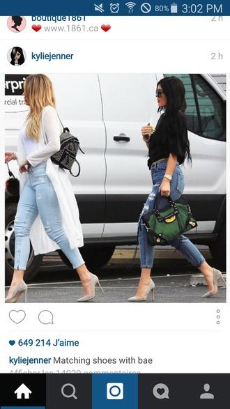 shoes heels kylie jenner khloe kardashian bag jeans