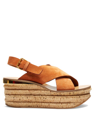 sandals wedge sandals suede nude shoes