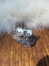 jewels,the glitzy hen,chevron,chevron earrings,silver,silver earrings,silver studs,stud earrings