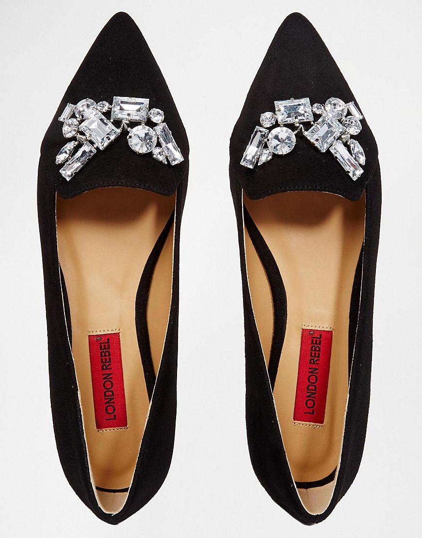 London Rebel Embellished Point Flat Shoes at asos.com