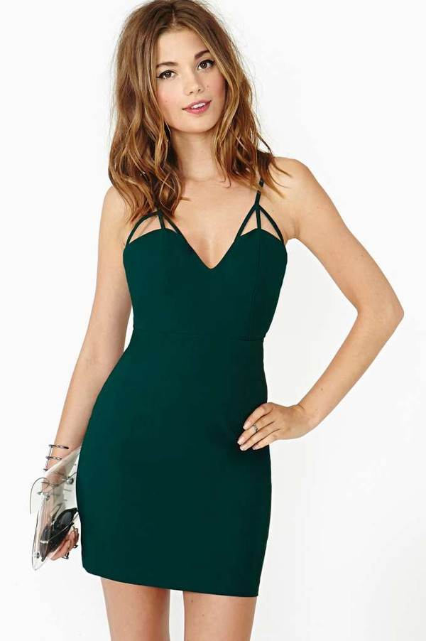 Dress: short, green, green dress, nastygal, triangle, sexy, sexy ...
