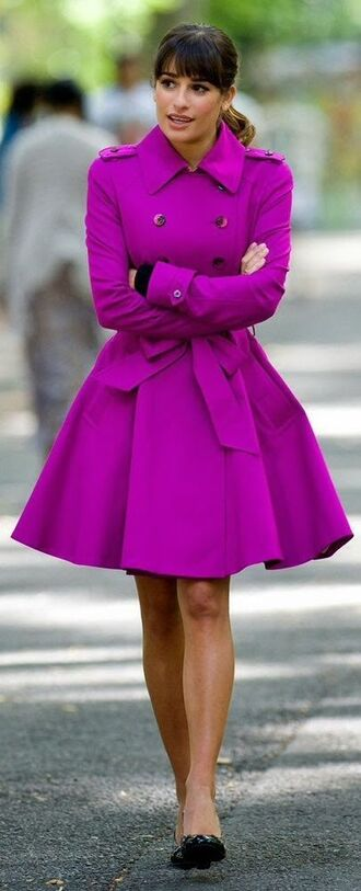 glee lea michele purple military style coat