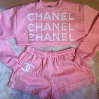 shorts sweater urban pastel pink chanel tracksuit nightwear pajamas pink chanel chanel sweater crop tops outfit