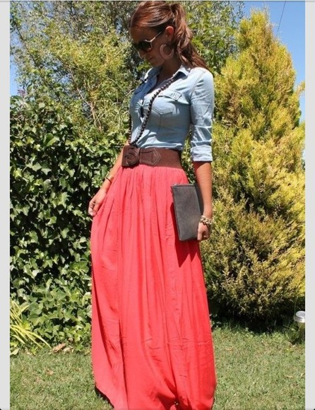skirt long skirt maxi summer denim shirt chambray shirt