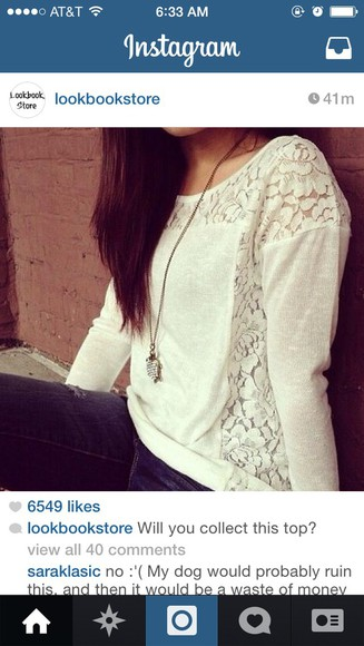 white top blouse lace sides