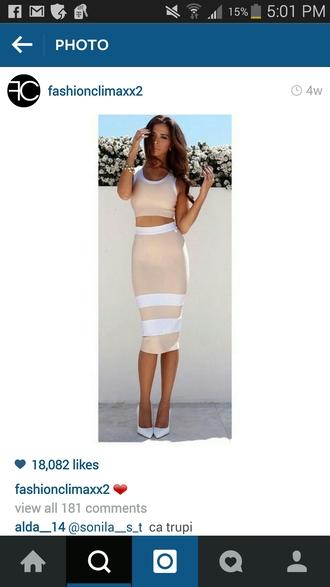 dress tan white stripes. two piece dress set
