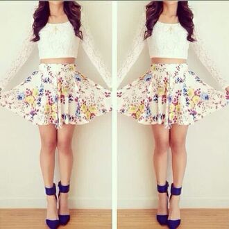 skirt white floral lace long sleeve belly shirt blue heels blouse shoes floral skirt flowers short