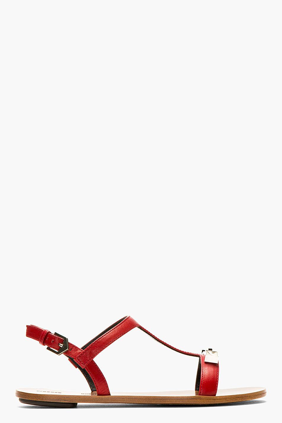 Proenza schouler crimson leather flat sandals