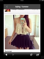 t-shirt,crop top pokadot skirt skater,skirt