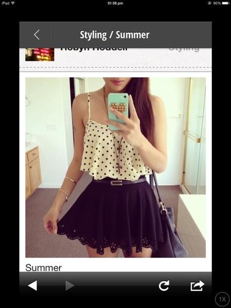 t-shirt crop top pokadot skirt skater skirt