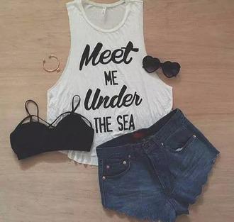 shirt t-shirt tank top disney cute cute top white black the little mermaid teen girl summer top