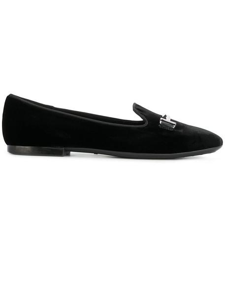 women slippers leather black velvet shoes