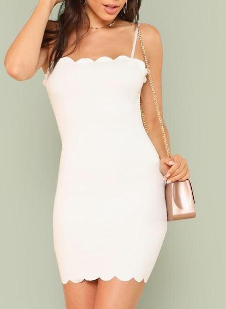 dress girly white white dress bodycon dress bodycon scalloped
