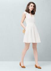 dress,mango,white dress,pleated dress,v neck dress,graduation dress