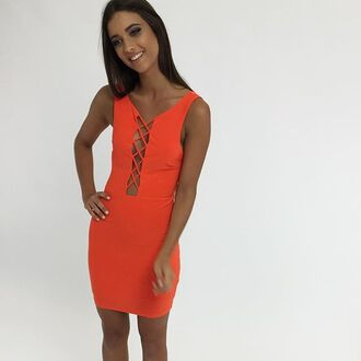 dress orange orange dress orange bodycon bodycon cocktail dress party dress peppermayo