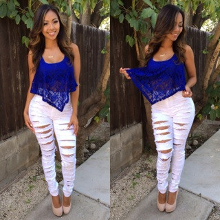 White Distressed High Waisted Jeans - Xtellar Jeans