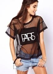 shirt,black paris,t-shirt,blouse,paris,see through,seethroughshirt,trendy,sexy,mesh,mesh crop tops,top,clothes,fashion,black,paris shirt,black t-shirt,mesh top,black shirt,mesh shirt,white,bare back,printed letters,perspective