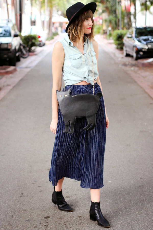steffy's pros and cons top skirt bag cats maxi skirt denim denim shirt cat bag boots black boots boho hipster summer outfits hat