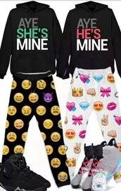 jacket,sweater,emoji print,pajamas,couple sweaters,couple,crewneck,pajama pants,matching set,him and her,emoji pants,earphones,tights,jumpsuit,white emoji jogger pants,top,hoodie,style,black,jordans,pink,white,fashion,shoes,leggings,pants,he's mine,she's mine,aye,red,green,sweatpants