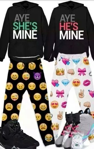 jacket sweater emoji print pajamas couple sweaters couple crewneck pajama pants matching set him and her emoji pants earphones tights jumpsuit white emoji jogger pants top hoodie style black jordans pink white fashion shoes leggings pants he's mine she's mine aye red green sweatpants