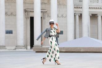 ktr style blogger dress jacket shoes belt long dress spring dress denim jacket hat sandals spring outfits