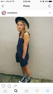 romper,blue romper,90s grunge romper,grunge romper,romper shorts,overalls,short overalls,denim overalls,blue overalls,hippie,hippie chic,model,instagram models,vegan,indie,indie boho,indie rock,indie shorts,hipster,hipster punk,hipster shorts,converse,high top converse,black converse,socks,cute socks