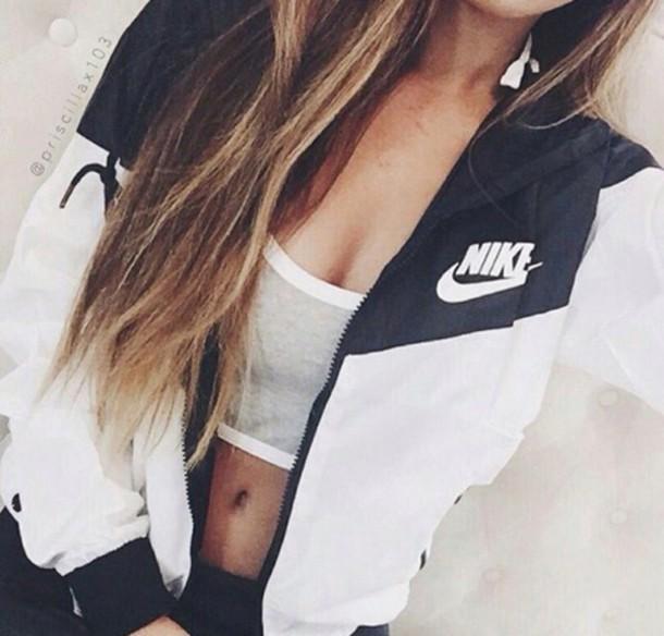 Jacket Nike Nike Air Streetwear Sportswear Sports Bra Sporty Nike Jacket Windbreaker White Black Tumblr Outfit Blue And White Wheretoget