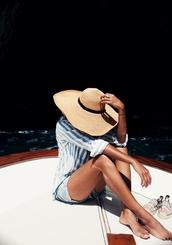 hat,tumblr,sun hat,straw hat,shirt,blue shirt,stripes,striped shirt,shorts,denim shorts,summer,big hat