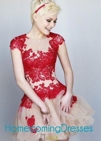 Red lace embellished sheer cocktail dress with nude layered tulle [sherri hill 11153 red/nude]