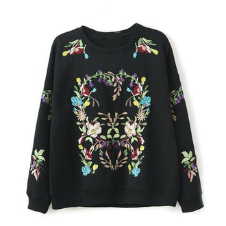 fall outfits pullover sweater black sweater cute sweater embroidered sweatshirt