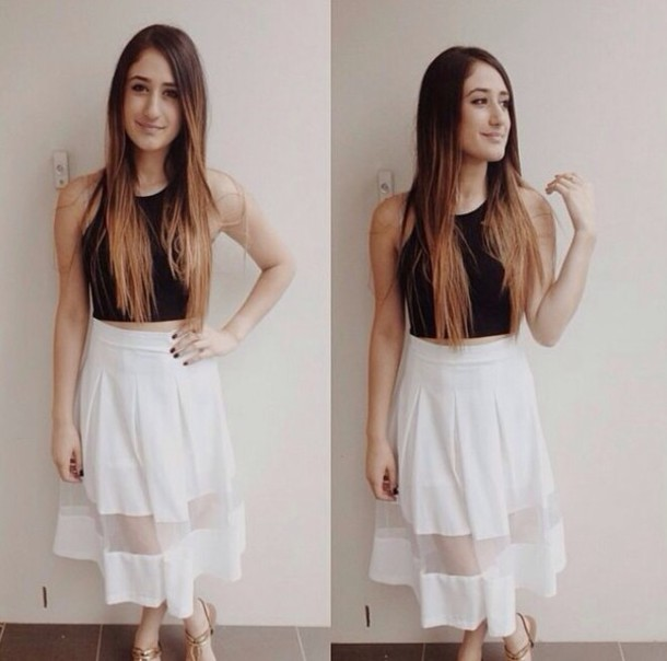 Skirt: white, midi, midi skirt, flowy - Wheretoget