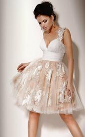 dress,white dress,white lace dress,lace dress,prom dress,beige dress,short prom dress