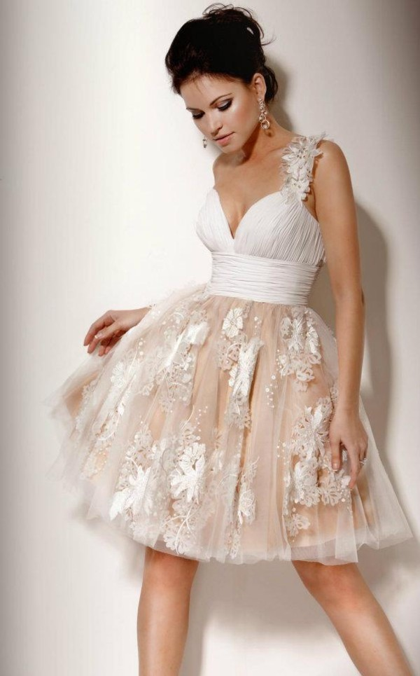 Beige Short Prom Dresses