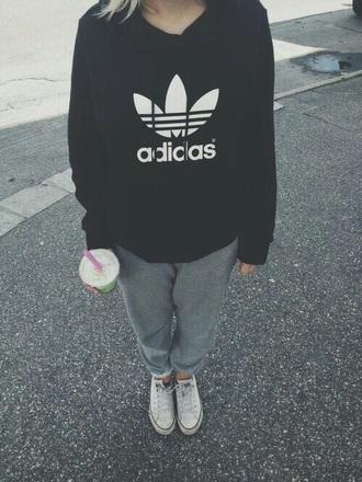 jacket adidas black white hoodie sweater pale teen sweatpants