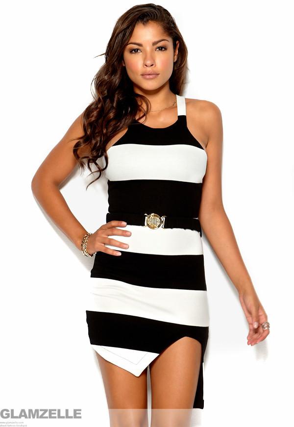 Striped irregular side cut black dress – glamzelle