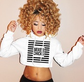 top,mixed chicks,curly hair,black and white,crop tops,jacket