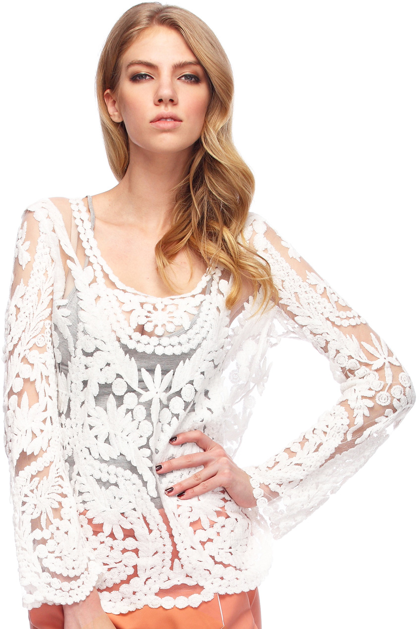Lace crochet embroidered white blouse, the latest street fashion