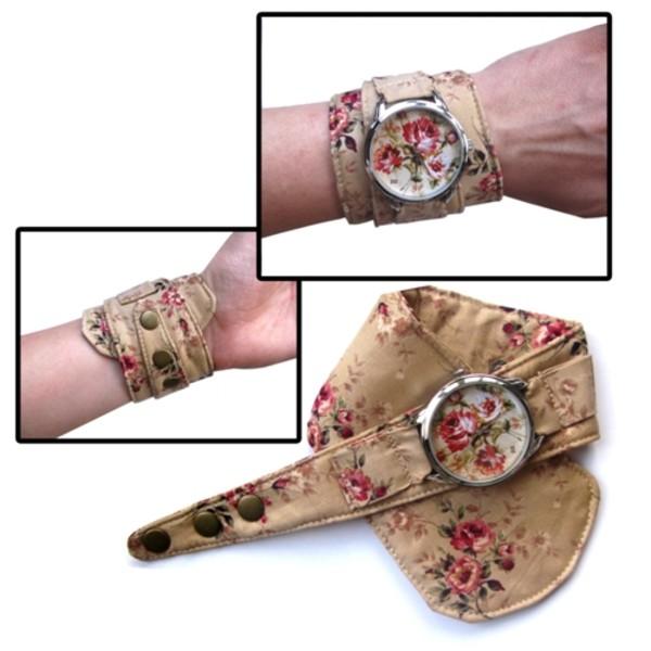 jewels ziz watch ziziztime brown flowers pattern caramel watch watch