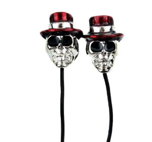 Amazon.com: Fashion Metal Skull Ear Buds Earphone Headphone Rock & Roll Style Silver with Rose Hat - Cyber Monday Deal Sale: Electronics