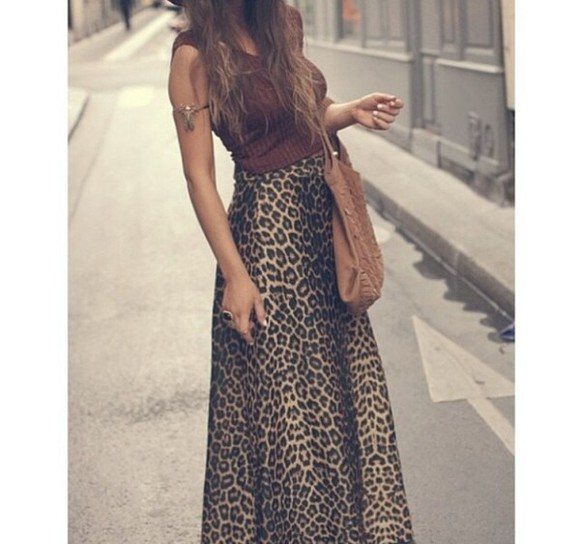 leopard skirt long